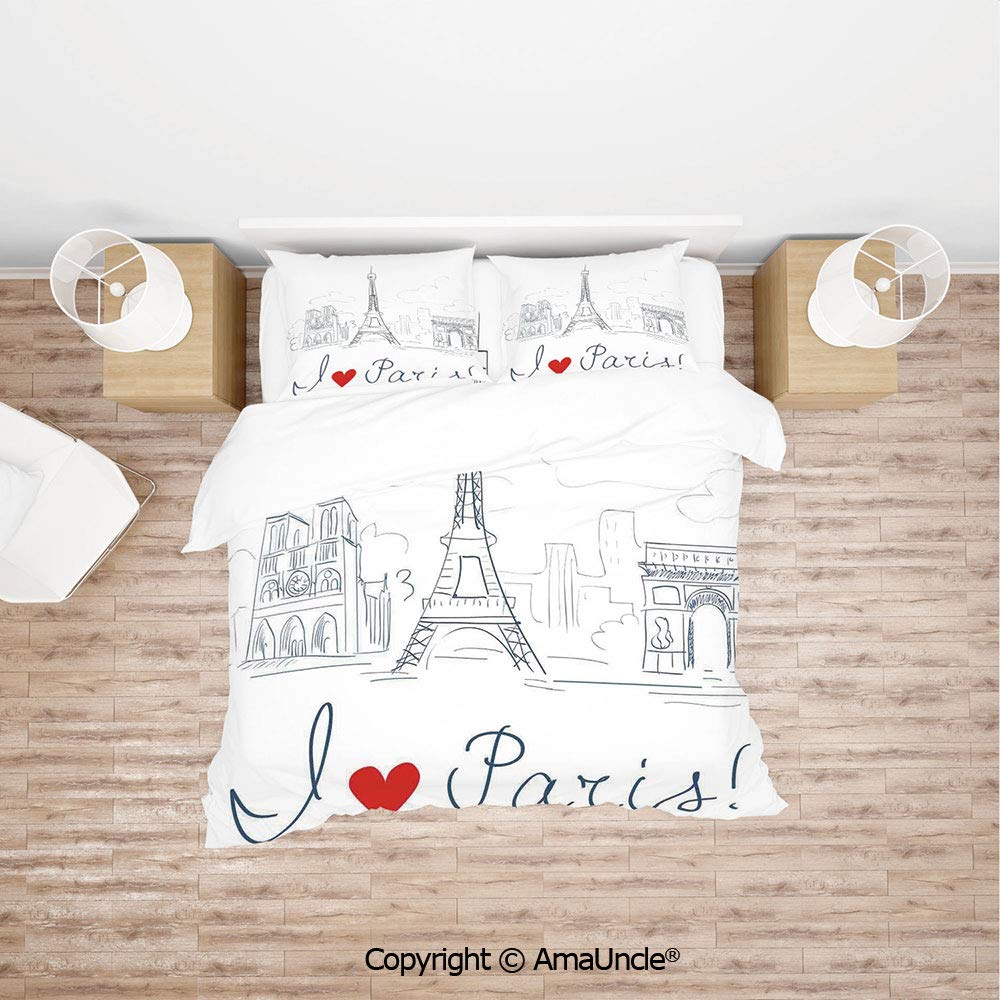 SCOCICI Sketch of The City with I Love Paris Lettering Fashion Center Europe Modern Life 4Pcs Bedding Set Duvet Cover Set Bedding for Decoration