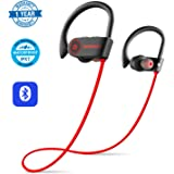 Bluetooth Headphones Wireless Sports Earphones Earbuds with Mic HD Stereo with Bass IPX7 Waterproof Sweatproof for Gym Running Workout Exercising - Noise Cancelling Headsets by Wavefun (Red)