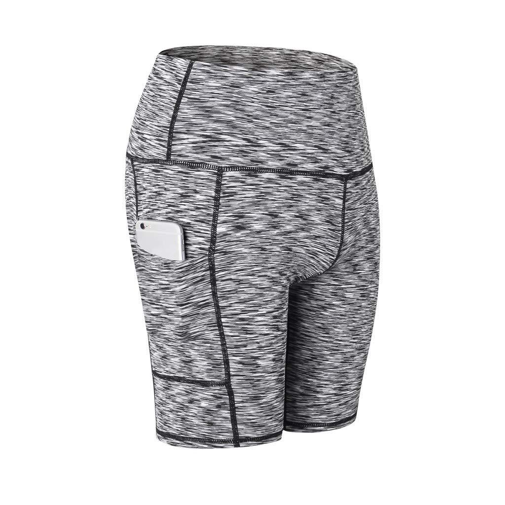 YCQUE Yogahose, Sporthose Frauen Hohe Taille Solide Yoga Kurze Bauch Kontrolle Training Laufen Yogahosen Damen Sommer Täglich Mode Lässig Laufhose mit Tasche