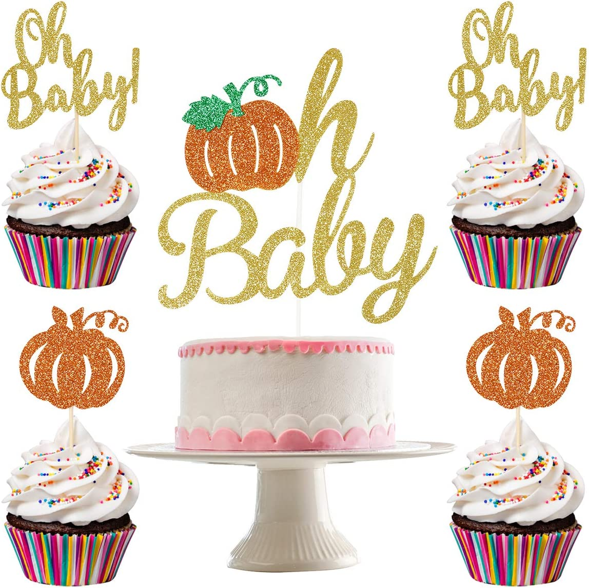 Gold Glittery Pumpkin Oh Baby Cake Topper and 24Pcs Glittery Pumpkin Oh Baby Cupcake Topper- Pumpkin Theme Baby Shower Party Decorations,Fall Baby Shower Party Cake Decor,Gender Reveal Cake Decorations