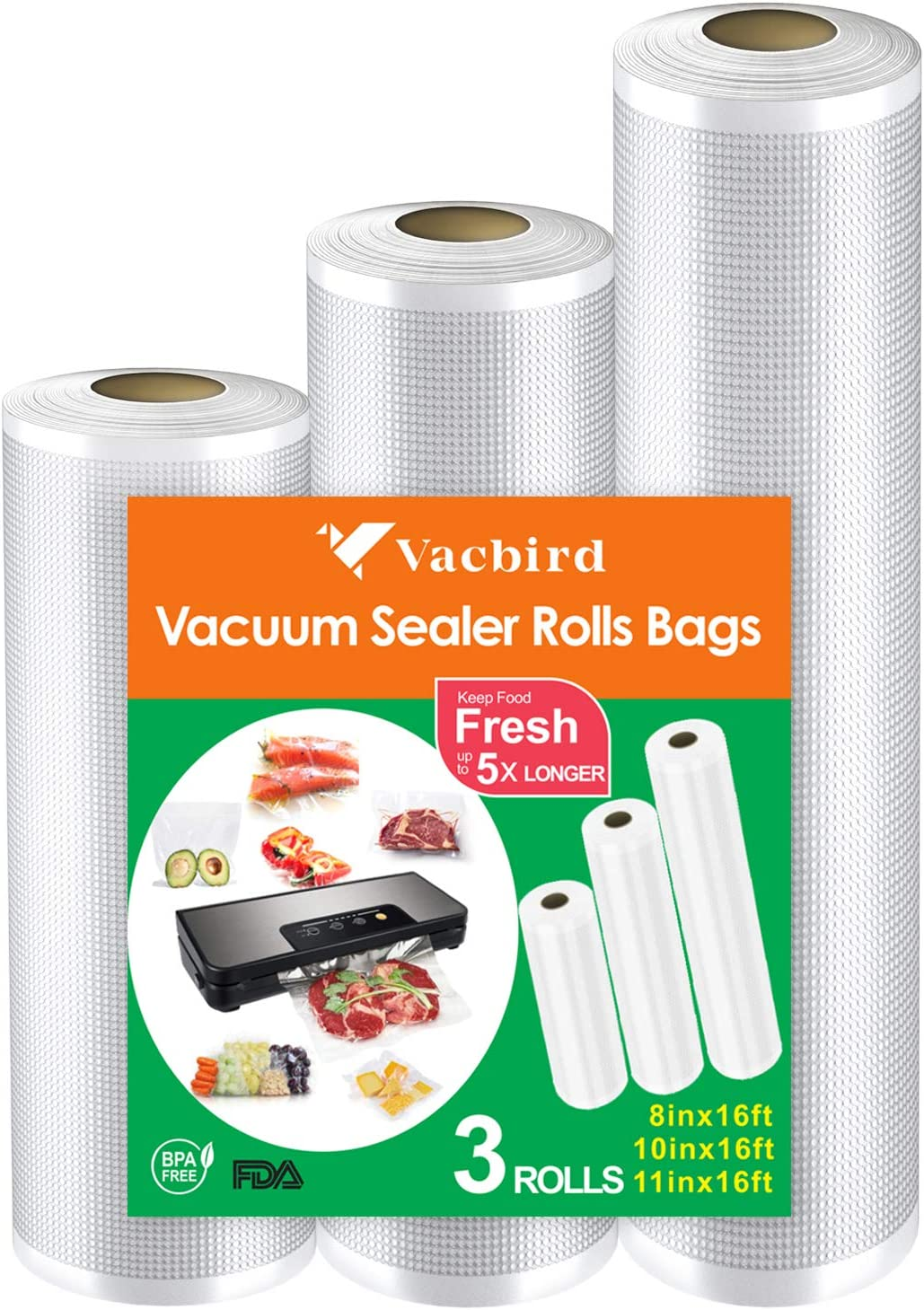 "Vacuum Seal Rolls Bags, Vacbird BPA-Free Vacuum Sealer Bags 3 Rolls 8"" x 16', 10"" x 16', 11"" x 16'for Food Saver, Meal Prep or Sous Vide"