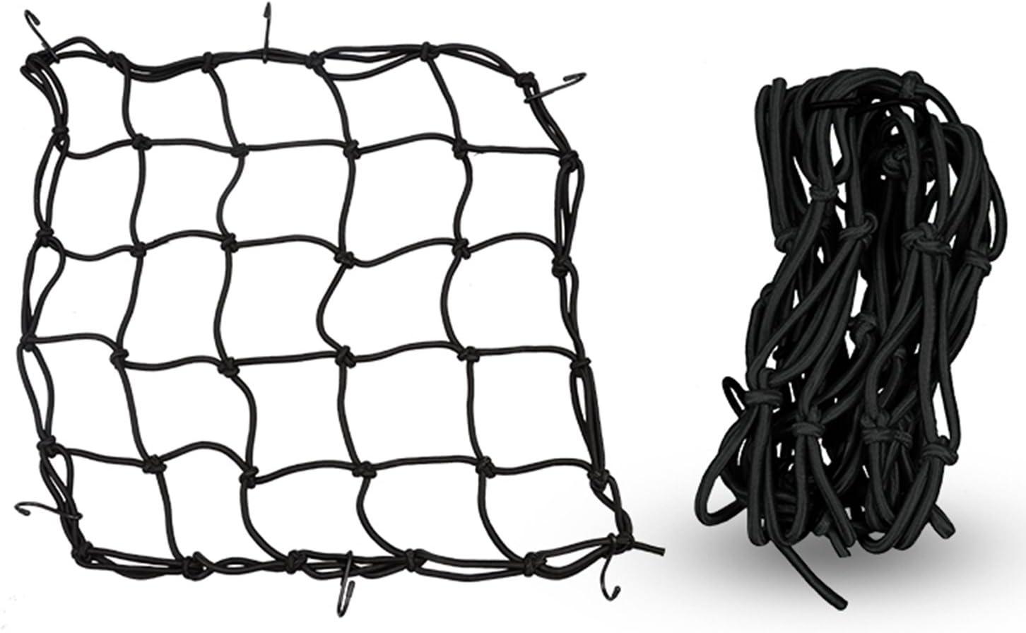 OOFIT 12/'/' X 12/'/' Cargo Net for Motorcycle Bike Luggage Helmet Storage Holder Bungee Mesh Package Carrier with 6 Adjustable Hooks Black
