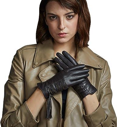 Women Lady Luxury Soft PU Leather Wrist Gloves Driving Winter Warm Fur Lined UK