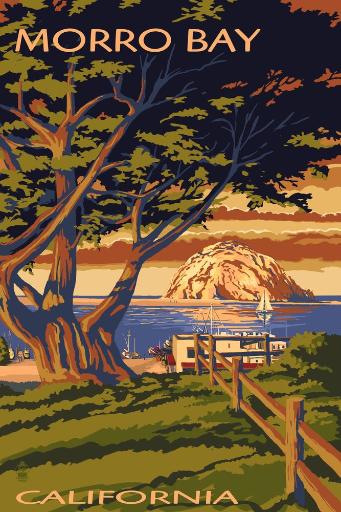 Morro Bay , California Town View with Morro Rock 12 x 18 Art Print LANT-32358-12x18 B00N5D03BA  12 x 18 Art Print