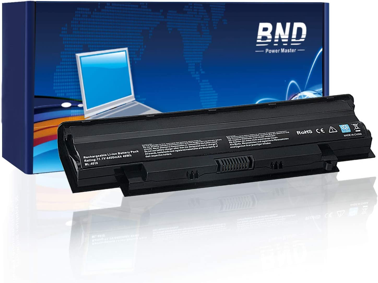 BND J1KND Laptop Battery for Dell N7110 N7010 N5010 N5040 N5050 N4010 N4110 M5030 M5110, Vostro 3450 3550 3750 3550N,fits P/N 9T48V 04YRJH [6-Cell 4400mAh/49Wh]