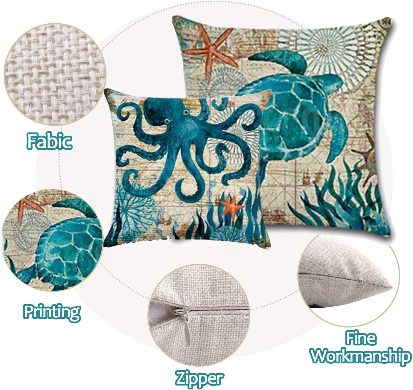 WEYON Ocean Theme Throw Pillow Covers Home Decorative 18 X 18 Inch Cotton Linen Cushion Covers Set of 4