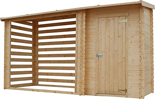 TIMBELA M205 Caseta de jardín con leñera - Caseta de pino / abeto - H199 x 348 x 146 cm: Amazon.es: Jardín