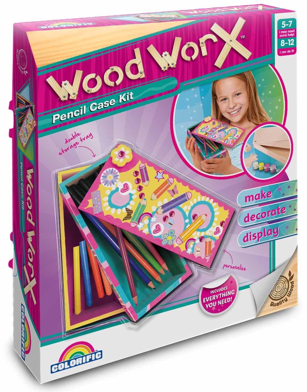 Decorate Pencil Case Colorific Wood Worx Pencil Case Kit Amazoncouk Toys Games
