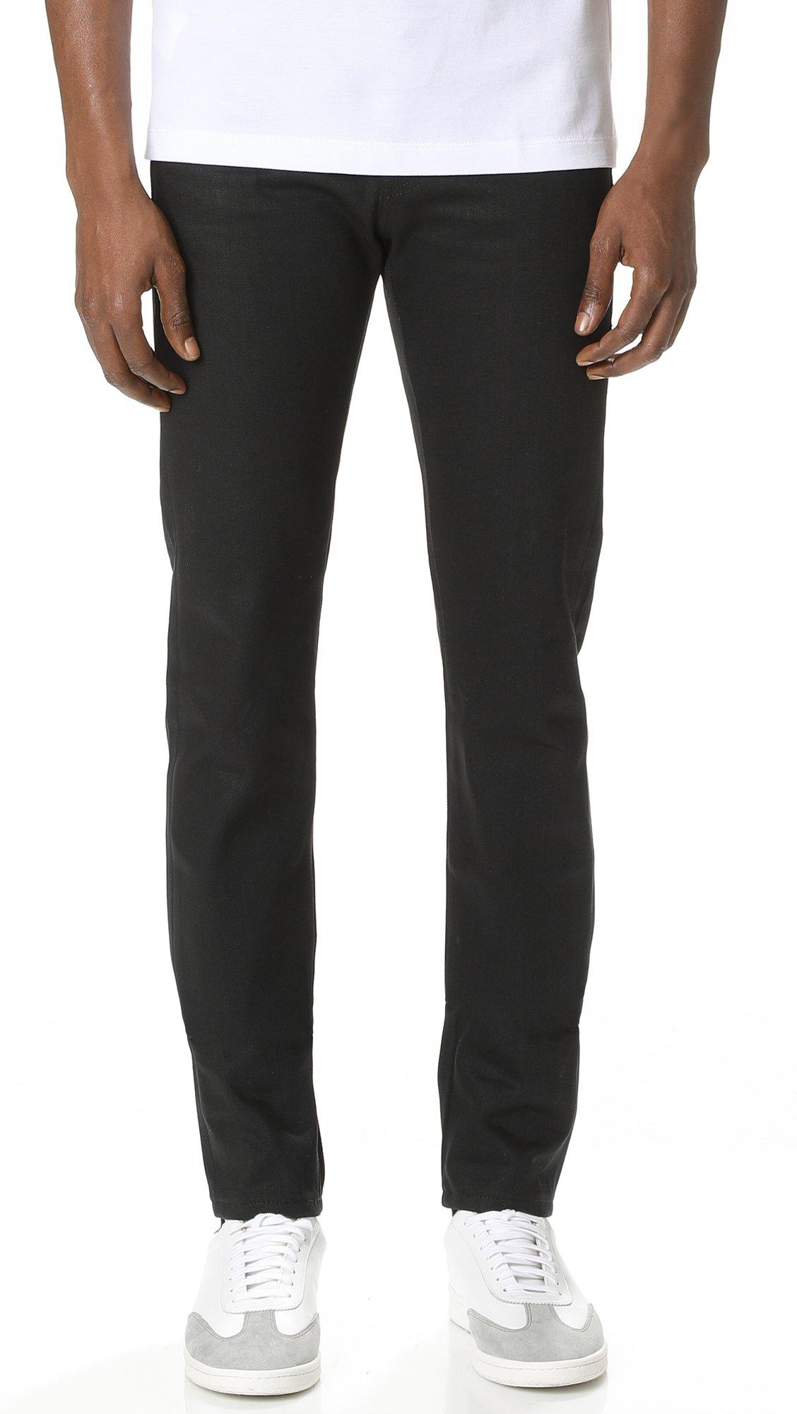 Naked & Famous Men's Super Skinny Guy Solid Black Selvedge Jeans, Solid Black Selvedge, 32