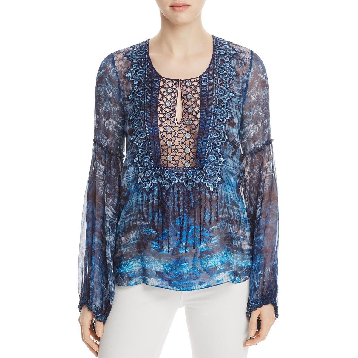 Elie Tahari Womens Avan Silk Blend Sheer Peasant Top Blue XL
