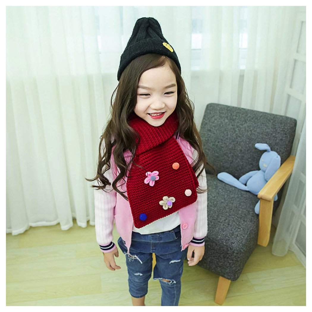Kid Scarf Warm Scarves Fuibo Toddler Winter Warn Girl Floral kids Baby Scarf Knitted O Ring Neck Scarves Christmas Gift for Kids Neckerchief
