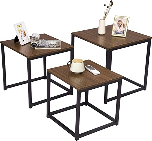 Esituro Scd0072 Set Of 3 Coffee Table Coffee Table Bed Table Made Of High Quality Mdf Class E1 And Metal Frame Dark Brown Amazon De Kuche Haushalt