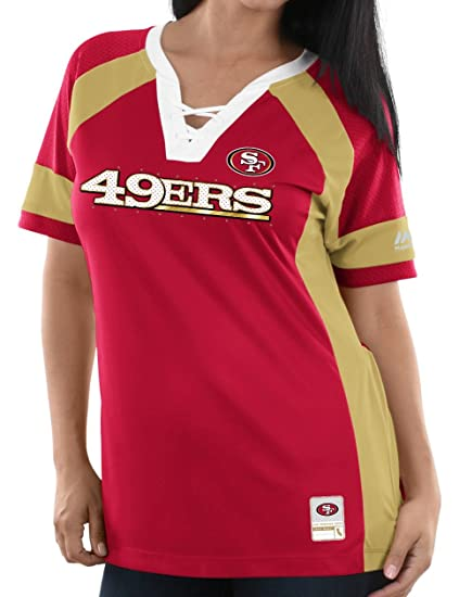 a8e1e883cab Image Unavailable. Image not available for. Color  Majestic San Francisco  49ers Women s NFL Draft Me 3 quot  Jersey Top ...