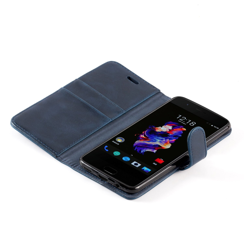 Funda Cuero para OnePlus 5 Funda con Tapa Coffee Marr/ón Mulbess Funda para OnePlus 5 Funda M/óvil OnePlus 5 Funda Cartera OnePlus 5
