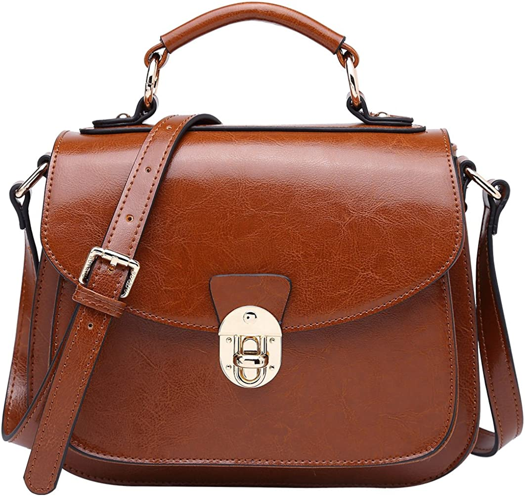 Leather Handbag for Women Vintage Shoulder Crossbody Bag Top Handle Satchel Grey