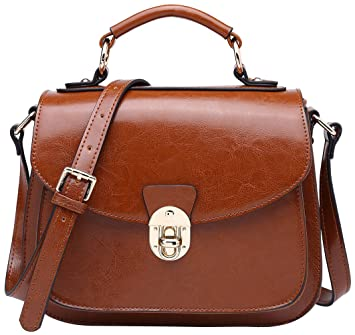 1bc1a455966b83 Amazon.com: BOYATU Leather Satchel Handbags for Women Vintage Top Handles  Messenger Bag (Brown-B): Boyatu