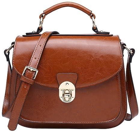 cdef4d589c5 BOYATU Leather Satchel Handbags for Women Vintage Top Handles Messenger Bag  Brown-B
