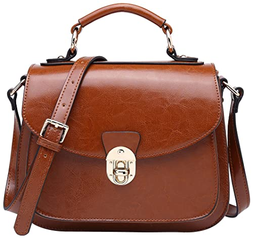 BOYATU Womens Leather Handbags Shoulder Bag Top Handle Tote Satchel for  Ladies (Brown-B 3a8854dfeaf8a