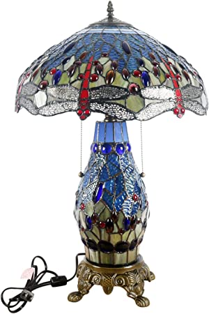 T18275Tgrb Dragonfly Tiffany Style 26 Inch Table Lamp With