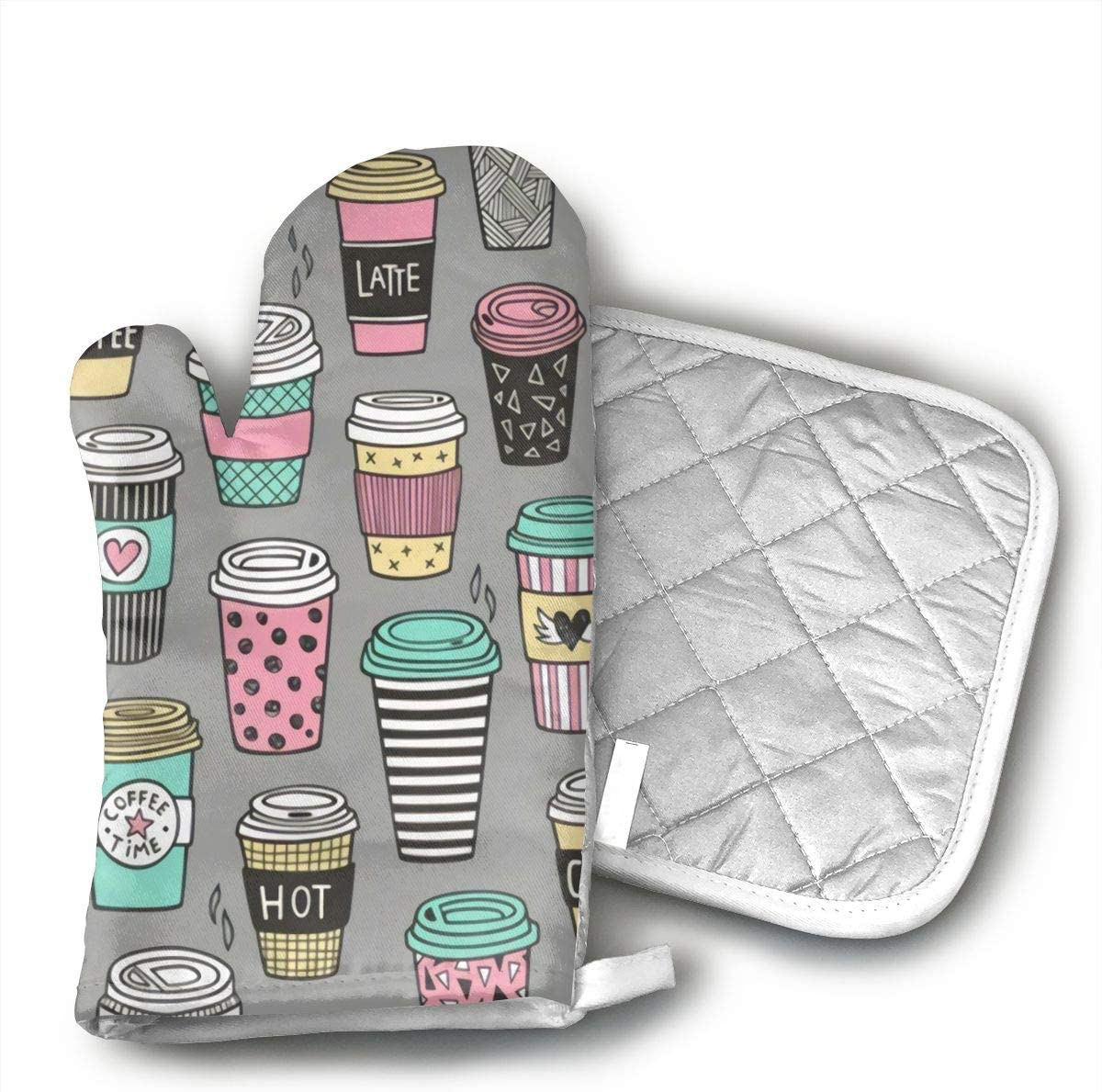 CHFSTi Oven Mitts Coffee Latte Geometric Patterned Non-Slip Silicone Oven Mitts& Pot Holders, Heat Resistant to 500Fahrenheit Degrees Kitchen Oven Gloves