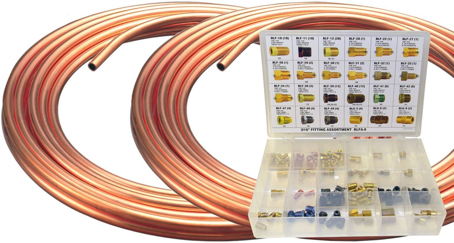 2 Coils 3//16 x 25 Brake Line Coil and Fitting Assortment Kit