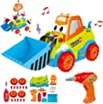 Take Apart Construction Car Toys, Remoking STEM Building Toys 25 Pieces Assembly Truck Toys with Drill Tool, Lights and Sounds, Gifts for Kids
