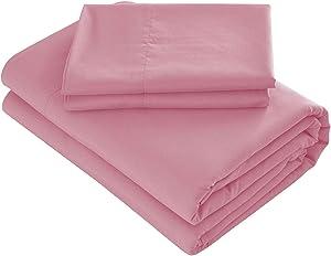Prime Bedding Bed Sheets - 4 Piece Queen Sheets, Deep Pocket Fitted Sheet, Flat Sheet, Pillow Cases - Queen Sheet Set, Rose Pink