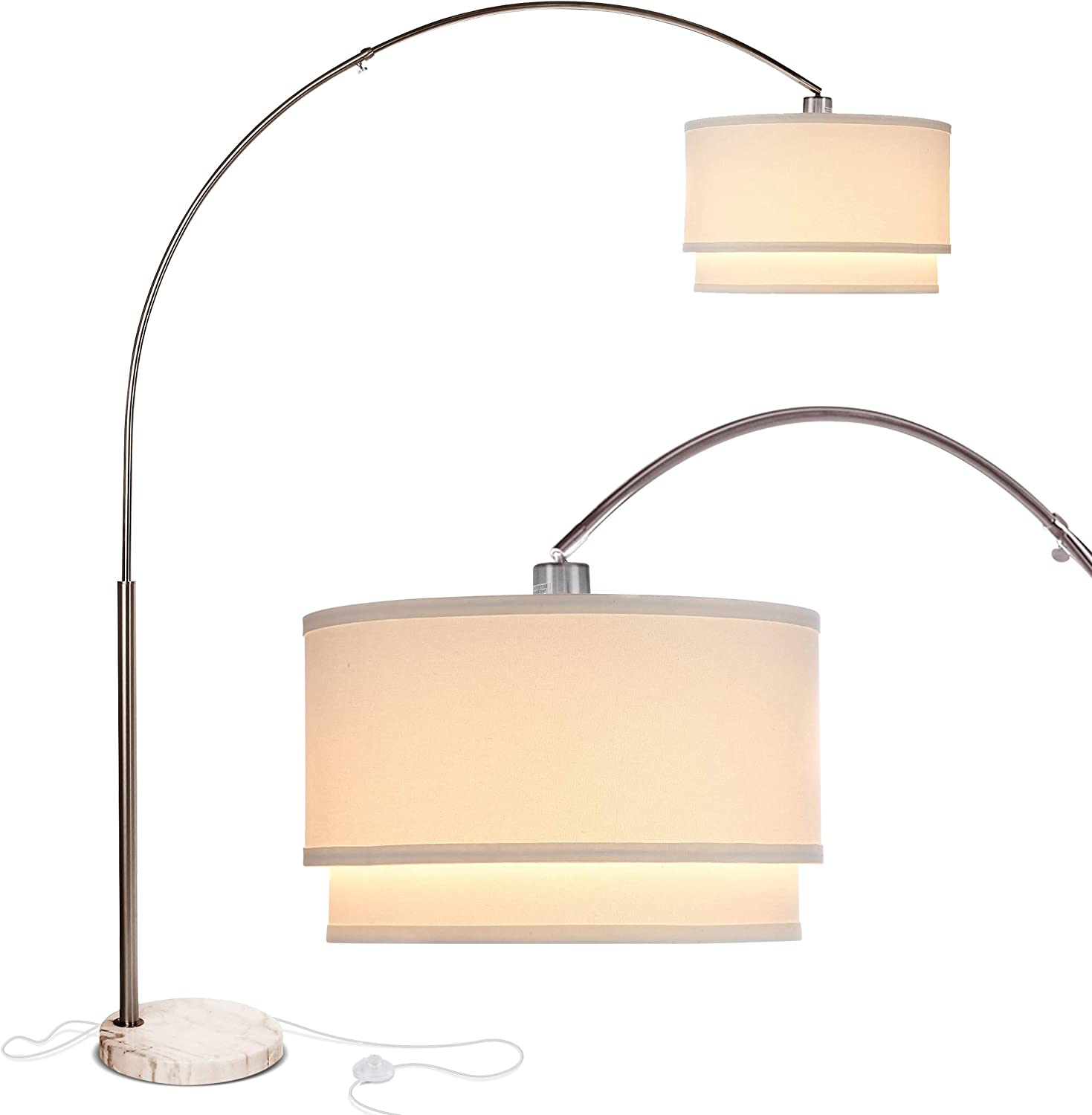 Shop Arc Floor Lamp with Unique Hanging Drum Shade from Amazon on Openhaus