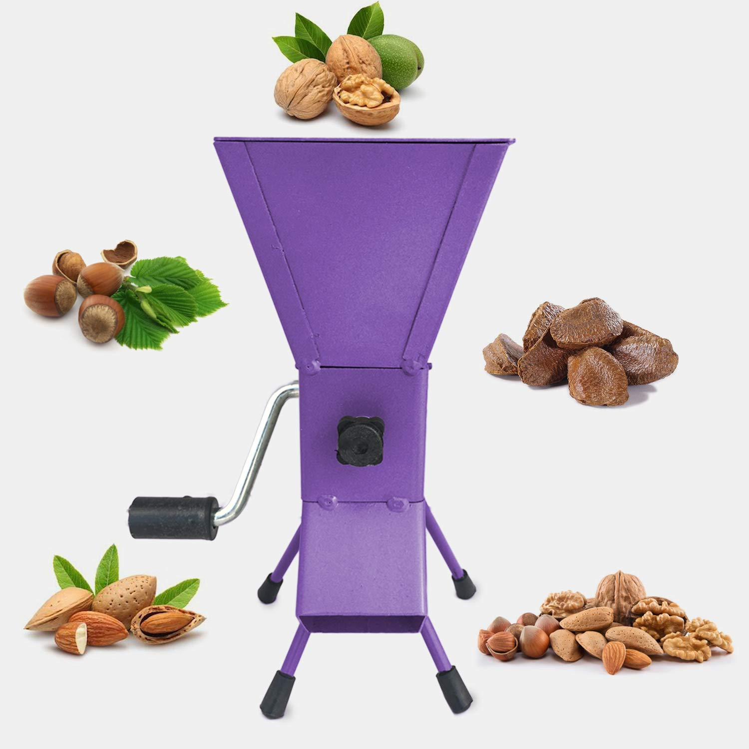 YARN STORY Hand Crank Nutcracker Tool for Pecans (Soft Shell), Almonds, Hazelnuts, Filbert Nuts, Brazil Nuts, Pistachios and English Walnuts. All Steel Nut Cracker Machine - Nutcracker Tool (Purple)