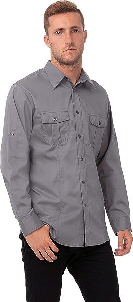 Uniforme obras b212-s macho piloto camisa, gris: Amazon.es ...