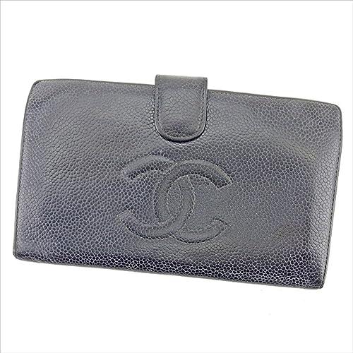 ef0c2647c791 シャネル CHANEL がま口財布 二つ折り財布 ユニセックス キャビアスキン×ココマーク 中古 T755