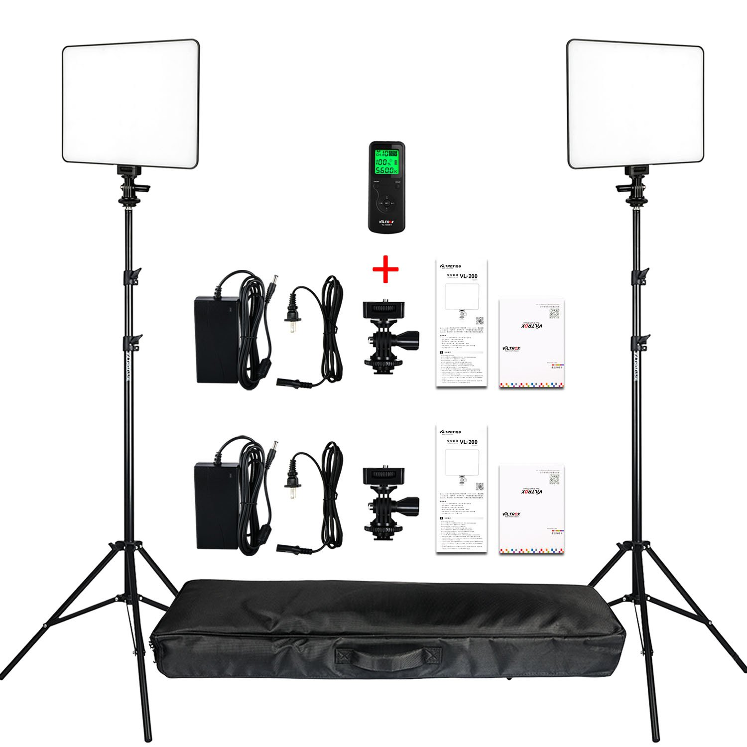 VILTROX 2-Pack VL-200 3300K-5600K CRI95 Super Slim LED Video Light Panel Photography Lighting Kit with Light Stand, Hot Shoe Adapter, Remote Controller, AC Adapter for YouTube Studio Video Shooting …