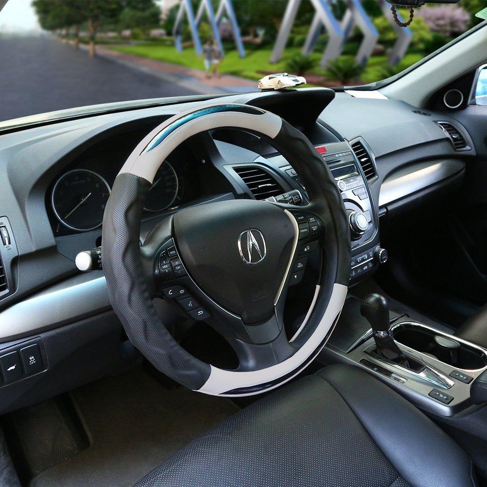 negro y plata Anti Slip Sin olor Cubierta del volante Universal Fit 37-38㎝ Transpirable Cuero genuino