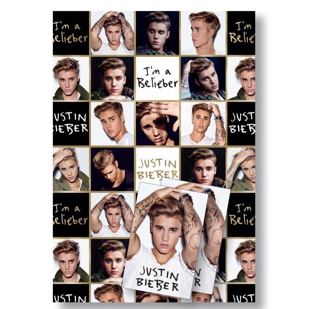 motivo 2 fogli e 2 etichette regalo Justin Bieber Carta da regalo