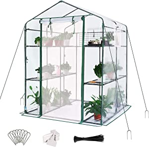 Quictent Greenhouse Mesh Door 3 Windows 3 Tiers 12 Shelves 56