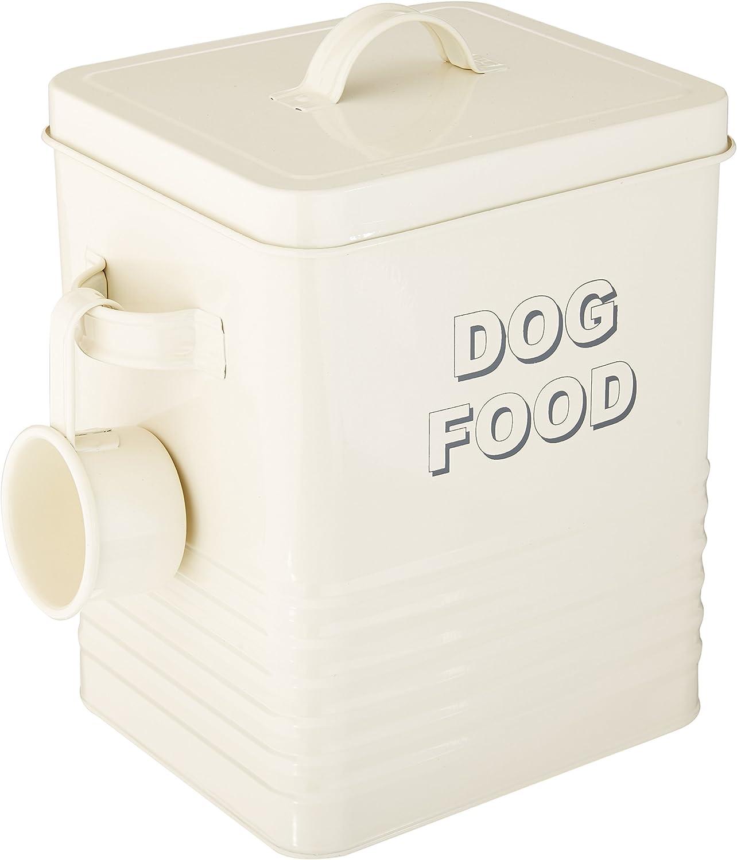 The Leonardo Collection Sweet Home Dog Food Storage Tin with Scoop, Cream