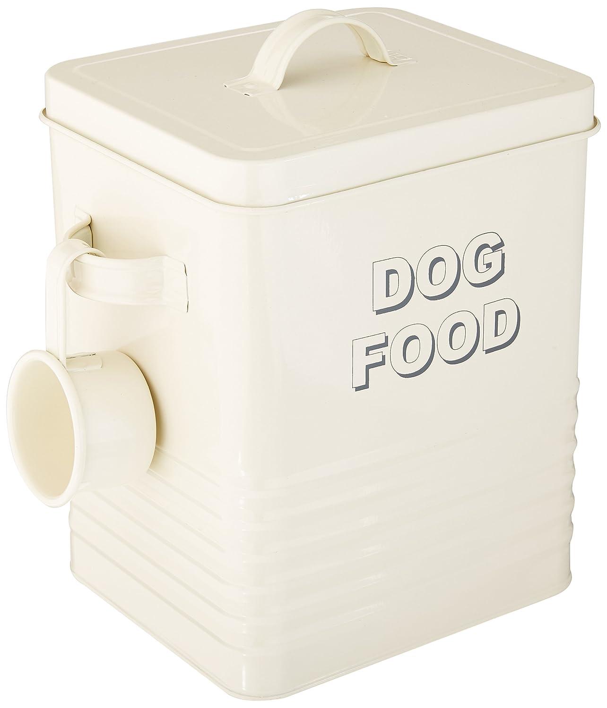 Lesser & Pavey - Bote para almacenar la comida del perro (20 cm), diseño con texto Dog food, color blanco y azul LP22217