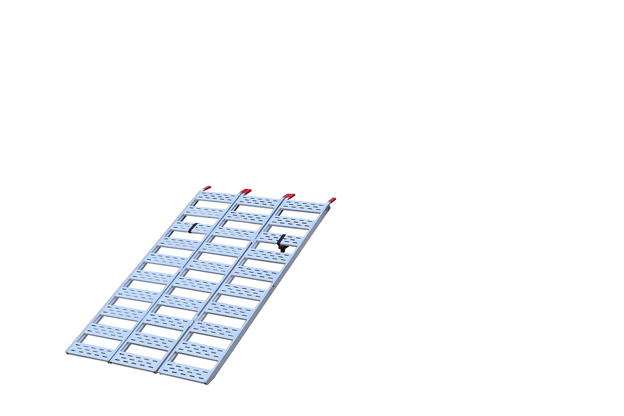 """CargoSmart Aluminum Tri-Fold Ramp with Treads (1pk) – Easily and Safely Load and Unload Push Mowers, Garden Tillers, ATVs and More, 1,500 lb. Capacity, 50"""" W x 76"""" L"""