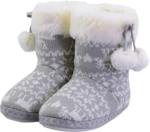 festooning Little Kids Girls Winter Warm Soft Faux Fur Lined Knitted Bedroom House Boots Booties Slippers with Pom Poms 12-13 Grey