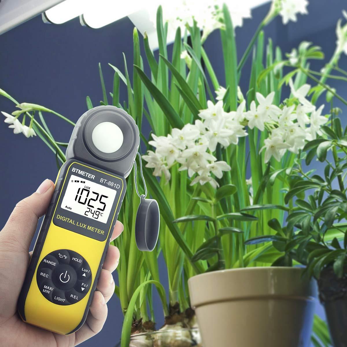 BTMETER BT-881D Digital Illuminance Light Meter, Measure Lights 0.01~400,000 Lux (0.01~40,000 FC) Foot Candles Luxmeter with 270º Rotated Sensor for Plants LED Lights Indoor Outdoor Light Tester by BTMETER (Image #6)