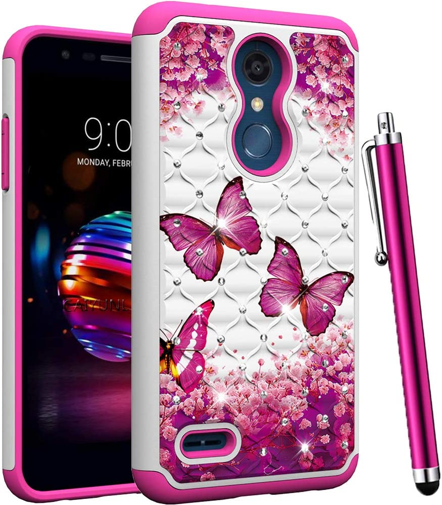 CAIYUNL for LG K30 Case, LG Phoenix Plus Case, LG Premier Pro LTE, LG Harmony 2,LG K10 2018 Case Bling Rhinestone Dual Layer Hybrid Protective Heavy Duty Armor Shockproof Hard Cover-Hot Pink Butterfly