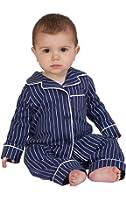 PajamaGram Cotton Jersey Classic Stripe Button-Front Pajamas, Navy
