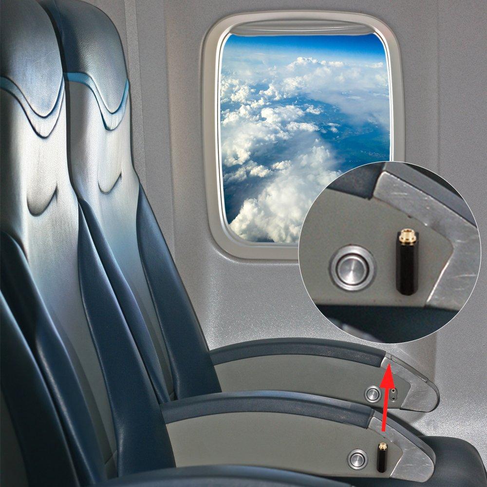 AKUNSZ 5pcs Avion Adaptateur Casque Audio Prise Jack Avion Deux Fiche 3,5mm vers Une Prise 3,5mm Plaqu/é Or pour Casques /Écouteurs