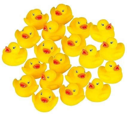 JUNGEN 20PCS Juguetes de Baño de Patito de Goma con Sonido Preciosos pequeños Juguetes de Pato Amarillo para Bebés Ducha