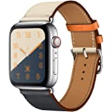 Leather Band Compatible with iWatch 45mm 44mm 42mm Genuine Leather Strap Watch Bands Replacement for iWatch Series 7 Series 6