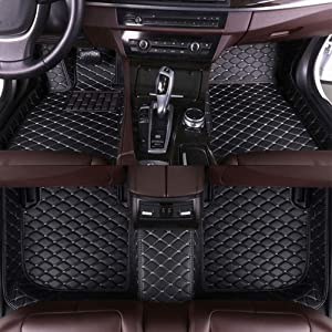 8X-SPEED Custom Car Floor Mats for Lexus is 2005-2012 Full Coverage All Weather Protection Waterproof Non-Slip Leather Liner Set Black Beige