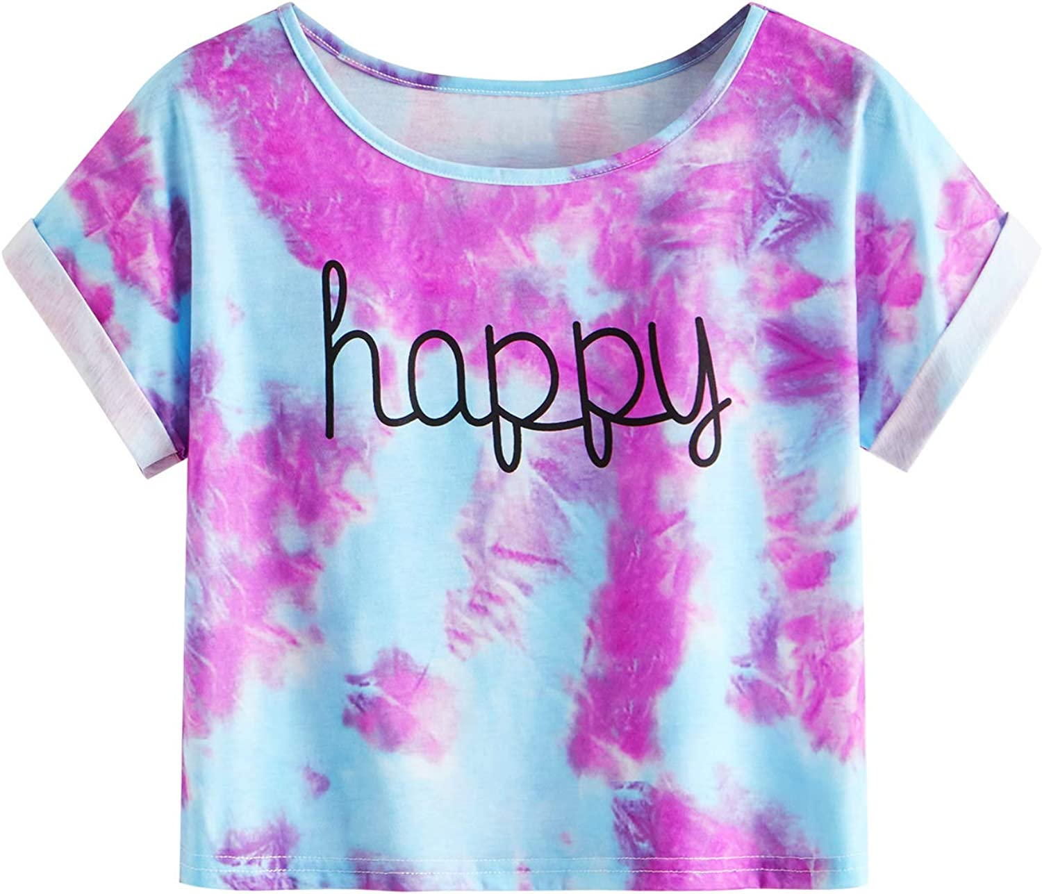 SweatyRocks Women's Short Sleeve Tie Dye Letter Print Crop Top T Shirt