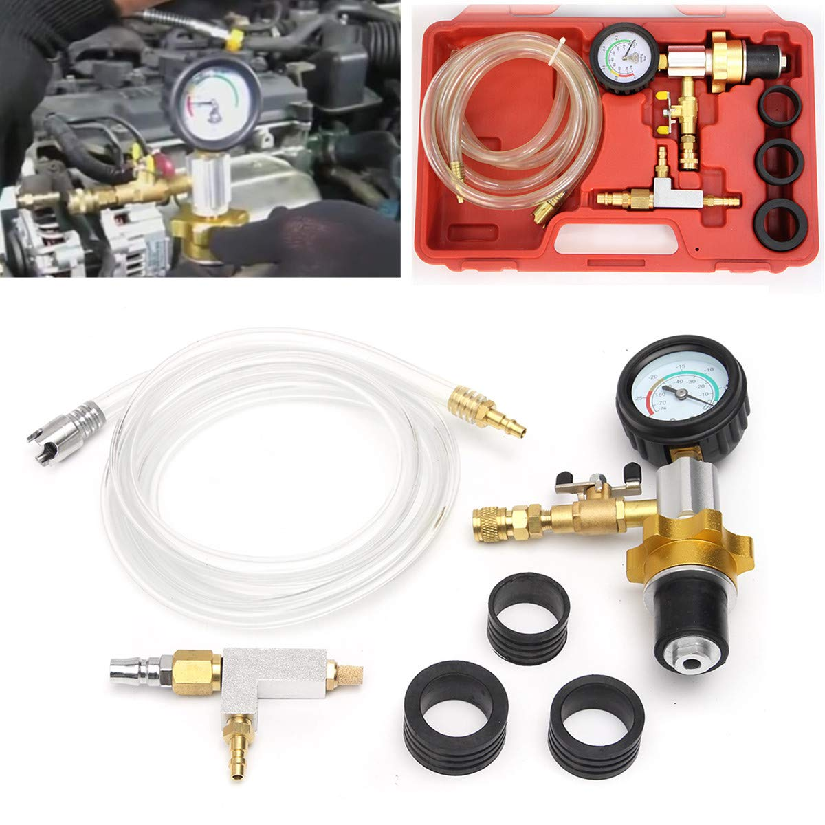 Lopbinte Vacuum Cooling System Car Radiator Coolant Refill /& Purging Tool Gauge Kit With Air Pump Car Wash Easy Connect