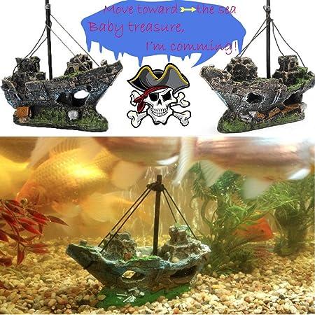 Bestgle Aquarium Ornament Wreck Sailing Fish Boat Sunk Ship