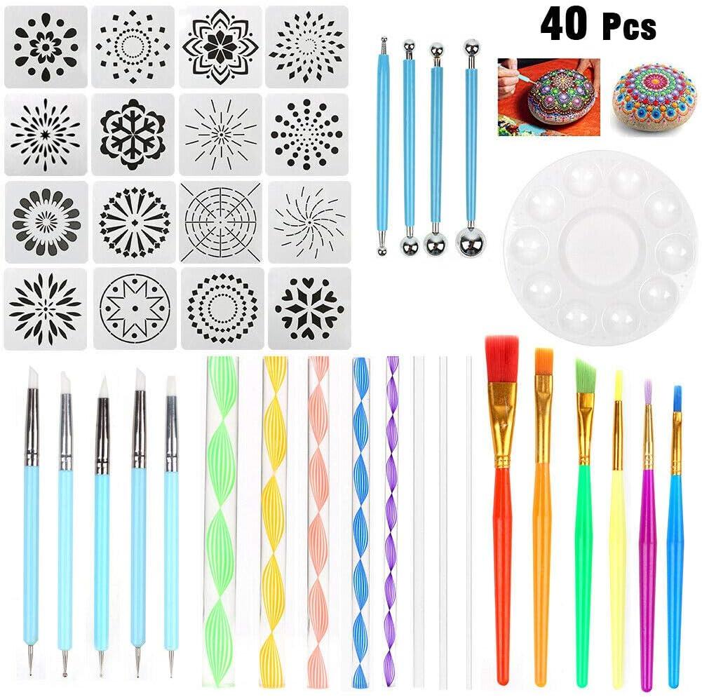 LBWNB Juego de Herramientas de Puntos Mandala de 40 Piezas Kit de Pintura Rupestre Pluma de Arte de Punto Regalo de Plantilla de Pintura